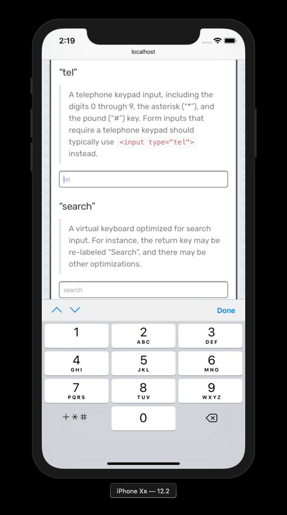 A note on iOS 12 2 input types · Catskull net